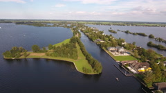 Peninsula in Dutch lake, aerial. Stock Footage