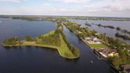 Peninsula in Dutch lake, aerial. Stock Footage