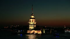 Istanbul, Maidens Tower At Night Stock Footage