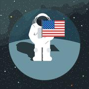 Digital vector with astronaut sign with usa flag Stock Illustration