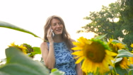 Beautiful young woman talking on the phone. Stock Footage