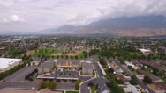 Aerial shot of a mountain city Stock Footage