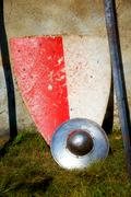 Set of middle age style weapons, sword and shield Stock Photos