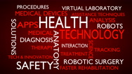 Health technology word tag cloud - red, English variant Stock Footage