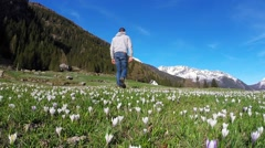 Walk in the flower meadow Stock Footage