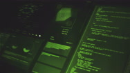 Ultra high resolution footage of database futuristic interface in perspective Stock Footage