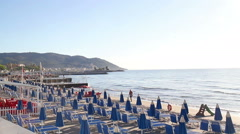 The beach of Diano Marina Stock Footage