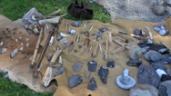 Flint and wooden tools in medieval festival Stock Footage