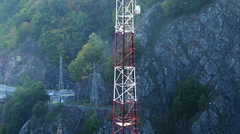 Radio antenna view in the mountains Stock Footage