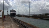 Ship entering the Panama Canal Stock Footage
