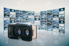 Composite image of virtual reality simulator over white background Stock Illustration