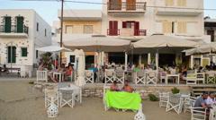 Pisw Livadi village at Paros island in Greece panning. Stock Footage
