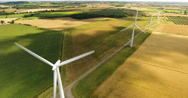 Aerial view of four wind turbines Stock Footage