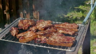 Pork Meat Steak on Barbecue Stock Footage