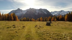 Aerial view - Autumn colours in mountain Stock Footage