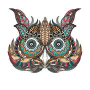 Patterned owl on the grunge background. African, indian, totem, tattoo design Stock Illustration