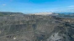 Aerial view of the quarry and dump trucks Stock Footage