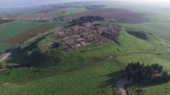 Tel Megiddo - Ancient city  bird view (Israel aerial footage) Stock Footage
