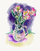 Digital watercolor painting of flower,  vector illustration Stock Illustration
