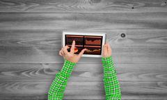 Using financial application Stock Photos