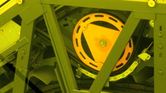 Escalator Mechanism behind the scenes look at the machinery Stock Footage