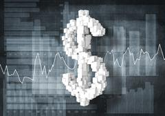 Dollar currency rate, 3D rendering Stock Illustration