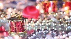 Christmas decoration drum close-up seamless loop Stock Footage