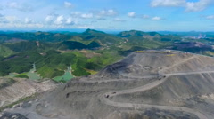 Aerial view stock footage large dump truck working in a quarry Mining dump Stock Footage