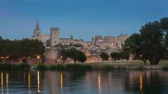 Timelapse of Blue hour on the Palais des Papes in Avignon Stock Footage