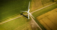 Looking down onto a wind turbine Stock Footage