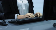 4K: A young woman writes on the computer keyboard. Stock Footage