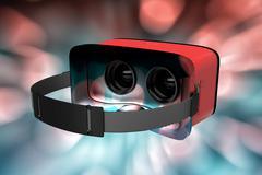 Composite image of digital image of red virtual reality simulator Stock Illustration