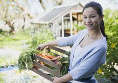 Portrait smiling woman with fresh harvested crate of vegetables in garden Stock Photos