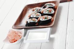 Sushi sashimi with ginger Stock Photos