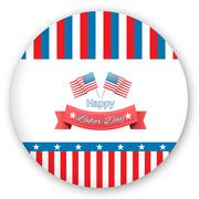 Composite image of happy labor day text badge with flags Stock Illustration