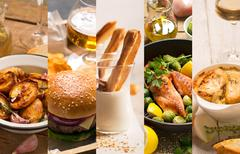 Collage of different pictures of natural food Stock Photos