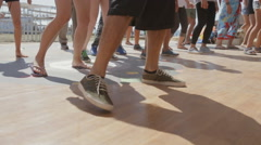 Close up of Legs Dancing People on the Dance Floor During the Master Class Stock Footage