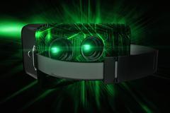 Composite image of black virtual reality simulator over white background Stock Illustration