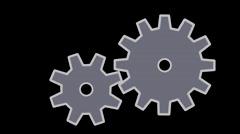 Gear wheels, Two gear wheels on black background Stock Footage