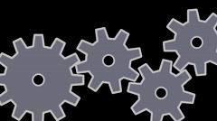 Gear wheels, Four gear wheels on the black background Stock Footage
