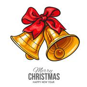 Golden bells with a red bow, Christmas greeting card Piirros