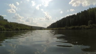Flowing on kayak down the river Stock Footage