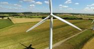 Aerial view of three wind turbines Stock Footage