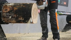 Stihl timbersports  saw cuts wood 4K UHD timbersports Stock Footage