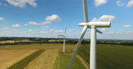Aerial view of two wind turbines Stock Footage