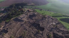 Tel Megiddo - Double  East and Chalcolithic Temples - Circular altar Stock Footage