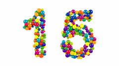 Colored balls in the shape of number fifteen Stock Footage