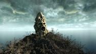 Horror island in ocean. devilish screaming skull. Halloween concept. flock of ba Stock Footage