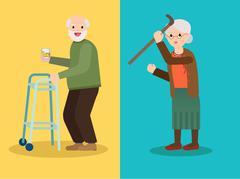 Grandmother scolds grandfather, Grandpa drinks whiskey Stock Illustration