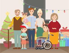 Big Christmas family at home vector illustration Stock Illustration